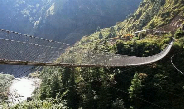 The Hanging Bridge of Ghasa Nepal