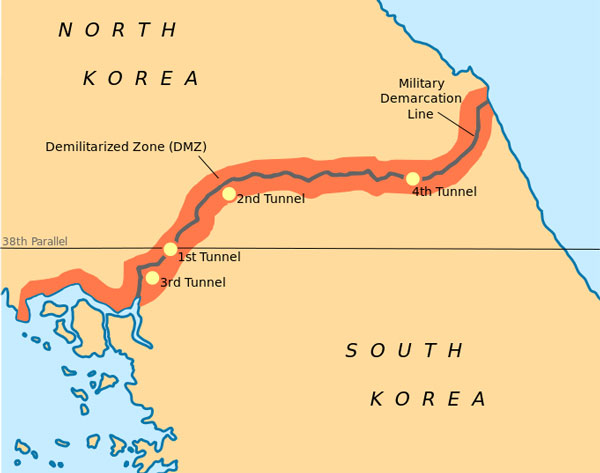 20 plus Tunnels of Aggression in North Korea