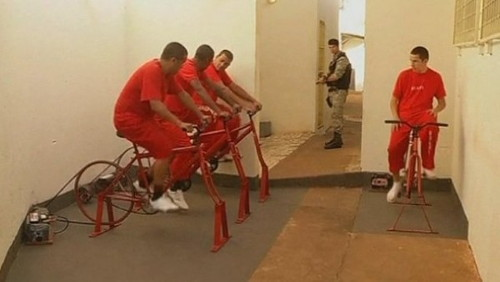 prison in Brazil that allows inmates to pedal stationary bicycles for providing electricity