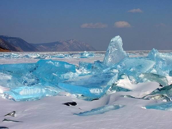 Turquoise Ice Lake in Baikal